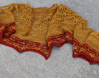 Gold and Rust Colored Merino Wool and Cashmere Blend Lace Shawlette or Scarf