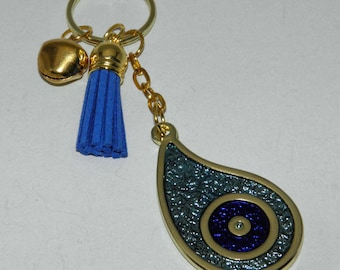 Eye Teardrop Metal Keychain Charm Gift Wrap. Evil Eye Keyring. Greek Handmade. Blue evil eye