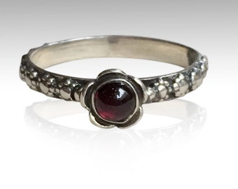 Garnet ring, Thin Ring, floral ring, sterling silver ring, floral band, red stone ring, engagement ring - Signs of time R1694-1