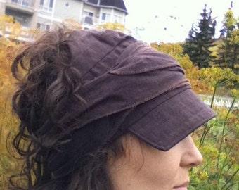 Cotton Visor Wrap Cap in Brown or Burgundy
