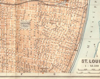 1909 Antique St Louis Map, Vintage St Louis Map, Map of St Louis, Brooklyn, City of St Louis Missouri Map