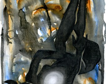 original art, Figurative Collage III, figure drawing, collage, watercolor effect, texture, mixed media