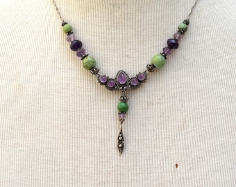 Amethyst and Turquoise Silver Boho Chic Necklace Vintage