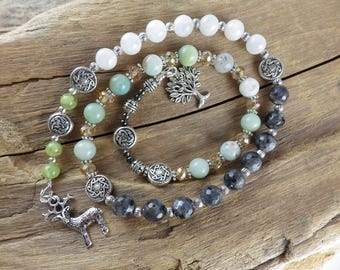 The Ancestor Stag Pagan Prayer Beads, Spirit Beads, Worry Beads, Wiccan Rosary, Witches' Ladder, Meditation Beads, Mala Beads, Pagan Gift