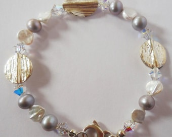 Bracelet of Thai Hill Silver and Mixed Freshwater Pearls