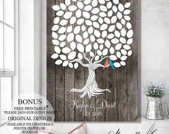 Custom Guest Book, Wood Wedding Signs Wedding Guest Book Alternative Guest Book Tree Wedding Tree Wedding Gift Wedding Canvas Guest Book