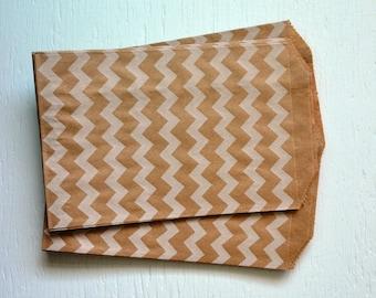 25 Medium Kraft Chevron Paper Bags, 5 x 7.5 inches