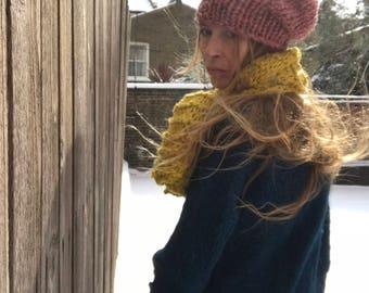 Pink fleck hat, chunky beanie, hand knit hat Pink beanie, chunky slouchy beanie,
