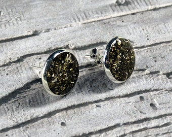 Stud Earring  -  Sparkly Earring  -  Copper Swarf and Silver Plate  -  Sterling Silver