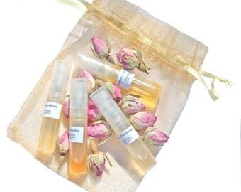 Organic Perfume Intro Set - Artisan Handcrafted natural perfumes - Botanical Fragrances - Essential Oils - Certified Organic - Vegan