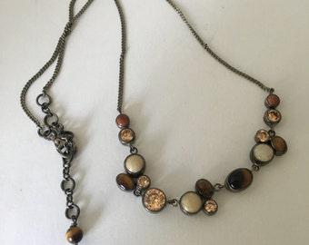 Gorgeous Vintage Tigers Eye Multi-Stone Necklace
