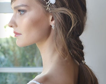 Bridal hair comb, Silk butterfly hair combs, Bride hair comb, Crystal hair comb, Bridal silk flower, Bridal hair accessory