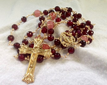Large Rose Red Ornate Vintage Style Yellow Brass Wire Wrapped Rosary