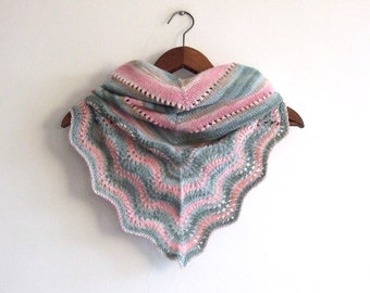 knit triangle scarf, pink green stripes, lace shawl