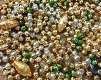 200 Vintage Mercury Glass Beads Gold Mixed Christmas Decor Craft Supply Lot (#830)
