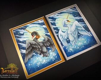 Swan Lake Swanicorns Odette and Odile -Hand Embellished Limited Giclee Swan Print