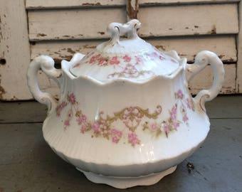 Vintage pink floral sugar bowl with lid