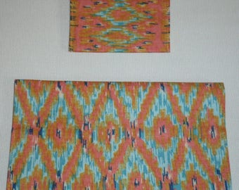 Duo checkbook and cards print Ikat
