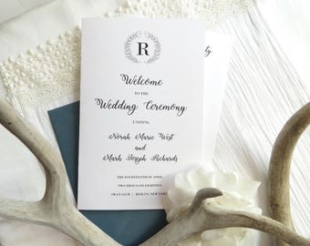 Folded Wedding Program Printable Template |  Instant Download PDF - Wedding Programs |  Folded Program  |   Wreath Branches Style 08