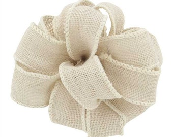 "2.5"" White Wired Burlap Ribbon - Great for Wreaths!"