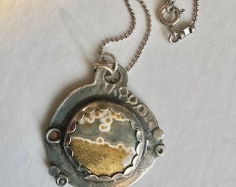 new ocean jasper pendant necklace in sterling