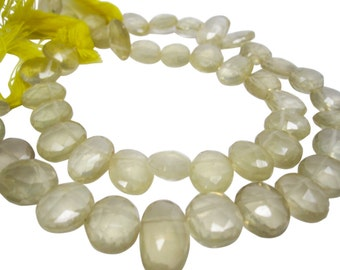Lemon Quartz Beads, Oval Briolettes, Yellow Quartz Beads, SKU 4387A