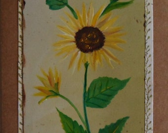 Sunflower Card Hand Painted Sunflowers Card Sunflower Greeting Card Floral Greeting Cards Acrylic Sunflower Card