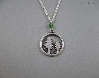 Forest Trees Charm Necklace - Silver
