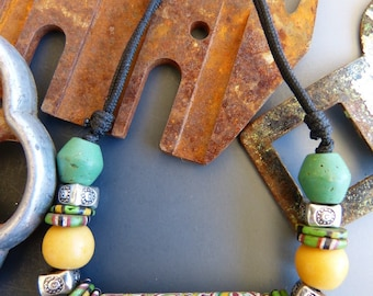 Adjustable Necklace Made with Vintage Glass Beads from the African Trade