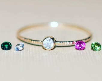 2.5mm Birthstone on SOLID 14k gold thread / Ultra thin stacking rings/ Everyday jewelry / Choose your stone