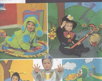1990s Simplicity Sewing Pattern No 3265 for Babies/Infants Costumes Spotted Dog, Tramp, Bee, Alien, Dragon Uncut, Factory Folded