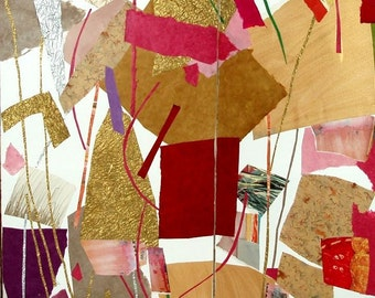 """FOLDING SCREEN- collage- painting- 35"""" high x 58"""" wide- """"The Seasons-Winter/Spring"""""""