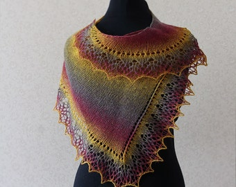 Hand knit Elegant wool lace scarf - purple, mustard, plum / Mother day gift idea