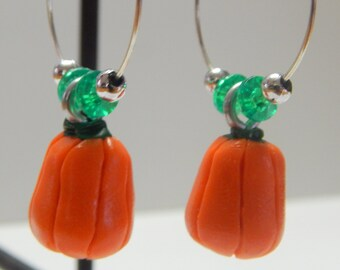 Pair of Orange Pumpkin Vegetable Hoop Earrings, Handmade of Polymer Clay.  Great for Halloween or Fall Harvest!