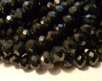 Glass Beads - 30 pcs - Black Beads - Faceted - 10mm x 7mm - Rondelles - Black faceted Beads