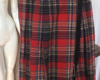 Red Plaid Pleated Skirt.