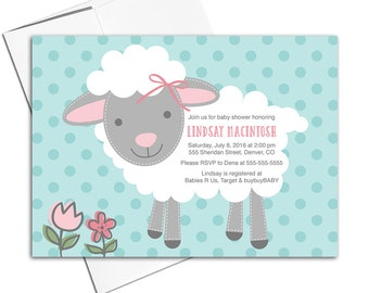 baby girl baby shower invites, little lamb baby shower invitation for girls pink gray teal, printable or printed - WLP00714