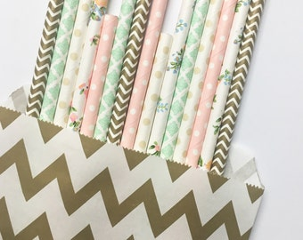Dreaming of wildflowers straw mix//paper straws, party supplies, birthday party decorations, floral straws, baby shower, wedding