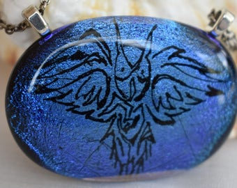 Tattoo Owl Fused Glass Pendant Fused Dichroic Glass Owl Necklace