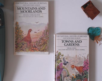 Set of 2 Natural History Books, Guide to Mountains, Moorlands, Towns & Gardens Classic Natural Book Collector, Nature Guide Book