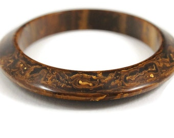 Gorgeous Chocolate Brown Flying Saucer Shaped Bakelite Bangle with Gold / Butterscotch Marbling - 1930s