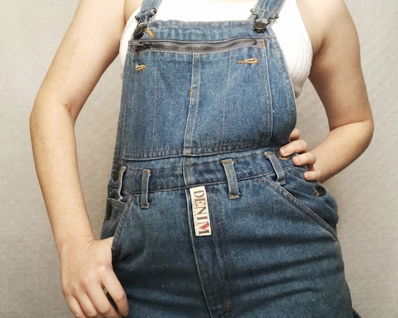 90s overalls - vintage in blue and black with patterned pockets from the 1990s in denim from Bebo Beverly Hills SCVU1XL