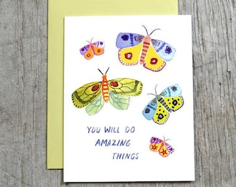 You Will Do Amazing Things Graduation Card, Congratulations Watercolor Greeting Card by Little Truths Studio