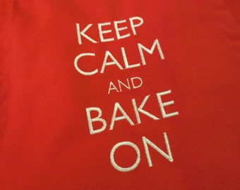 Embroidered Apron - Keep Calm and Bake On!