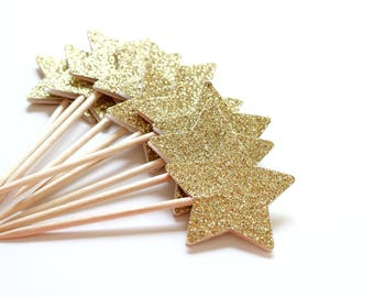 Gold Star Cupcake Toppers, Midnight Sparkle, Christmas Party Decor, Starry Wedding