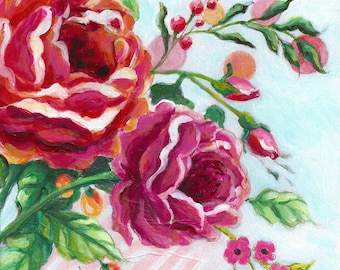 Modern floral still life, contemporary floral art, pink roses painting, colorful wall art, set of 2 fine art prints available by Paula Prass