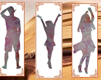 Silhouette bookmark, Watercolor Bookmarks, dancer, Instant Download Digital, Painting bookmark