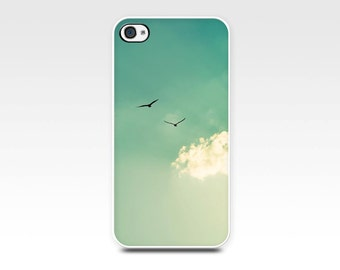 iphone case 4 4s 5 5s 6 birds in flight sunset photography beach nautical summer art case seagulls golden teal mint cell phone nature clouds