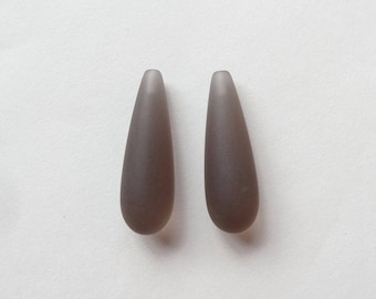A grade Smoky Quartz Half Top drilled Frosted Long Teardrops 8x24 mm One Pair G7325