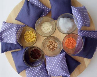 Bean bags. Sensory bean bags. Montessori bean bags. Sensory cushions. Montessori cushions. Montessori gift